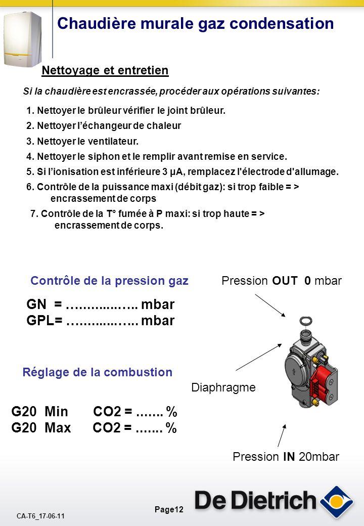 CA-T6_17-06-11 Page11 Chaudière murale gaz condensation Contrôle de la puissance en mode ECS. Dédit deau =...…....l/mn =………l/h T° eau froide = ……….°C