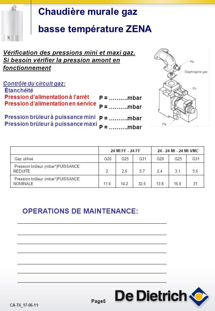 CA-T6_17-06-11 Page4 Chaudière murale gaz basse température ZENA (Pour une chaudière version cheminée contrôler les arrivées dair neuf) Contrôle des f