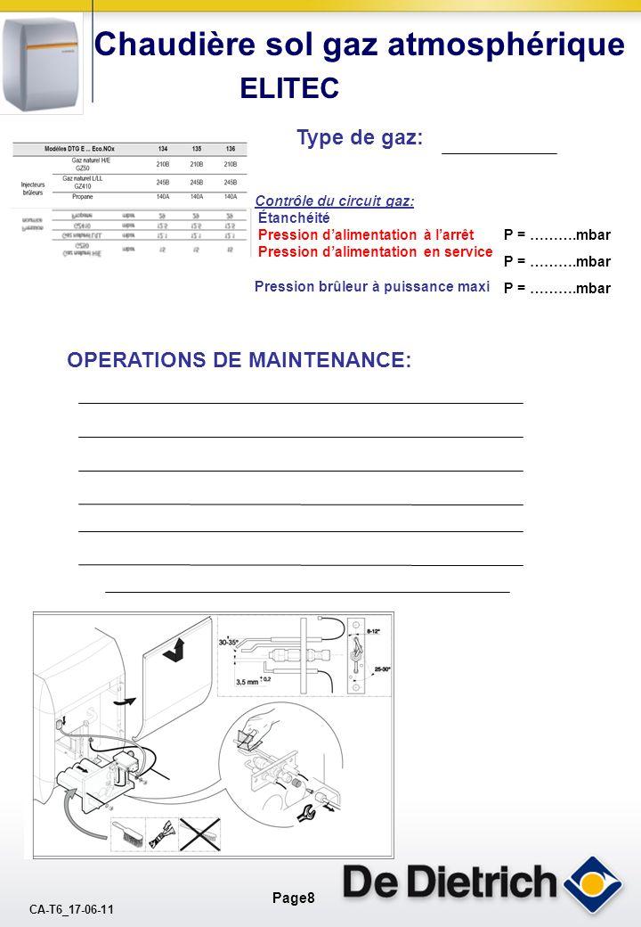 CA-T6_17-06-11 Page8 Chaudière sol gaz atmosphérique ELITEC Contrôle du circuit gaz: Étanchéité Pression dalimentation à larrêt Pression dalimentation en service Pression brûleur à puissance maxi P = ……….mbar Type de gaz: OPERATIONS DE MAINTENANCE: