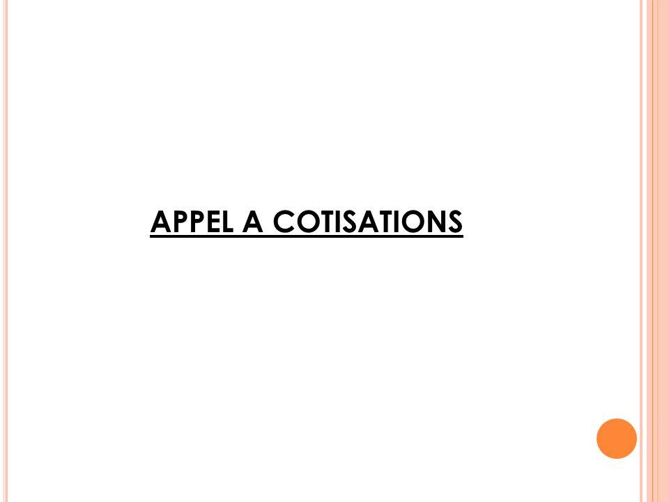 APPEL A COTISATIONS