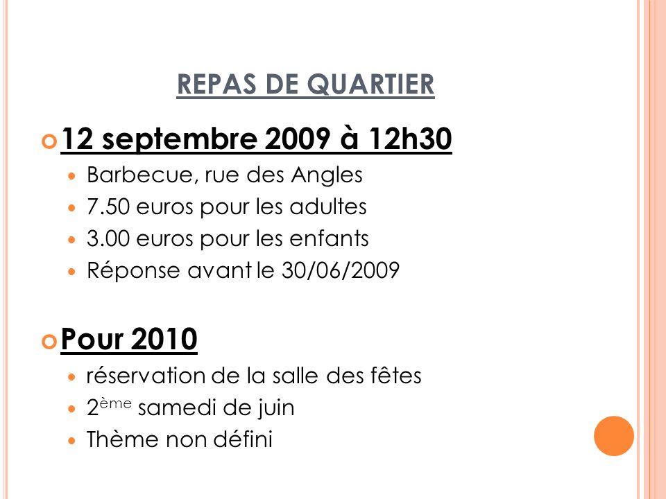 REPAS DE QUARTIER 12 septembre 2009 à 12h30 Barbecue, rue des Angles 7.50 euros pour les adultes 3.00 euros pour les enfants Réponse avant le 30/06/20