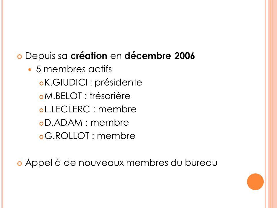 Depuis sa création en décembre 2006 5 membres actifs K.GIUDICI : présidente M.BELOT : trésorière L.LECLERC : membre D.ADAM : membre G.ROLLOT : membre