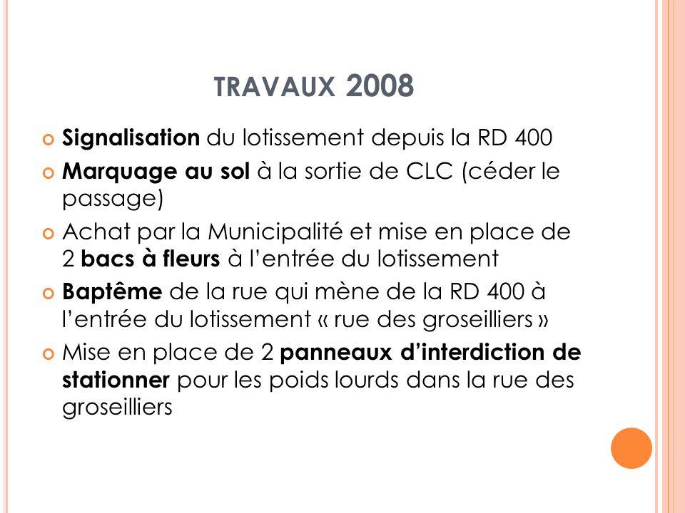 TRAVAUX 2008 Signalisation du lotissement depuis la RD 400 Marquage au sol à la sortie de CLC (céder le passage) Achat par la Municipalité et mise en