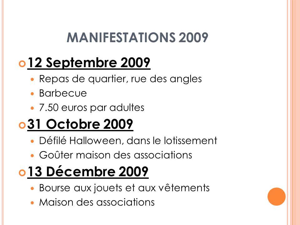 MANIFESTATIONS 2009 12 Septembre 2009 Repas de quartier, rue des angles Barbecue 7.50 euros par adultes 31 Octobre 2009 Défilé Halloween, dans le loti
