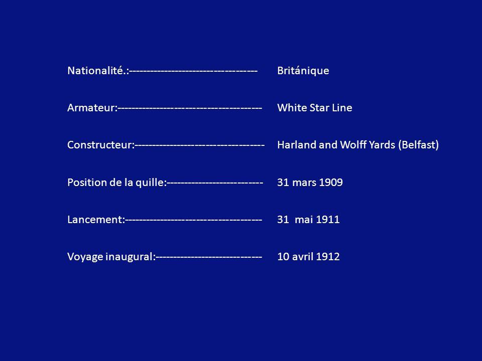 Nationalité.:------------------------------------Británique Armateur:----------------------------------------White Star Line Constructeur:------------------------------------Harland and Wolff Yards (Belfast) Position de la quille:---------------------------31 mars 1909 Lancement:--------------------------------------31 mai 1911 Voyage inaugural:------------------------------10 avril 1912