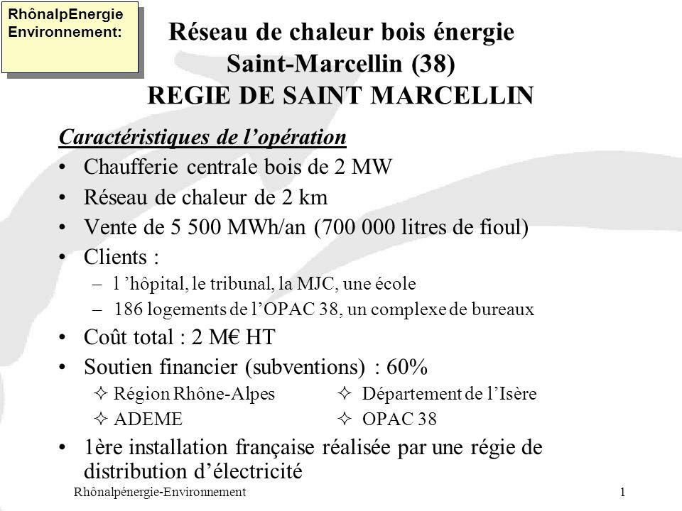 Réseau de chaleur bois énergie Saint-Marcellin (38) REGIE DE SAINT MARCELLIN Caractéristiques de lopération Chaufferie centrale bois de 2 MW Réseau de