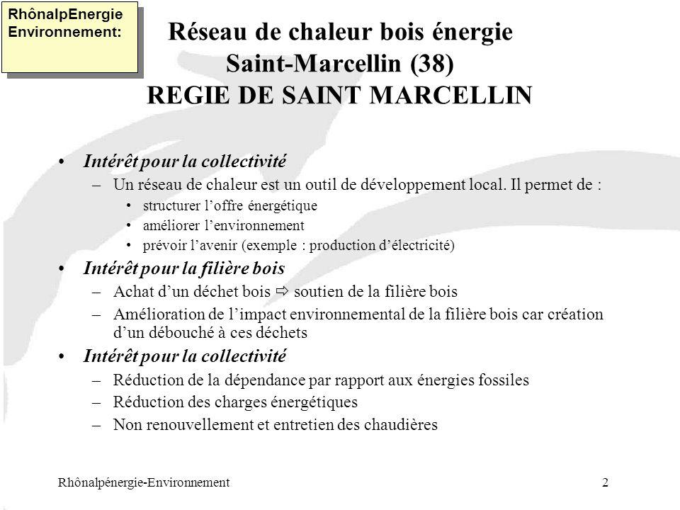 Réseau de chaleur bois énergie Saint-Marcellin (38) REGIE DE SAINT MARCELLIN Rhônalpénergie-Environnement 2 RhônalpEnergie Environnement: Intérêt pour