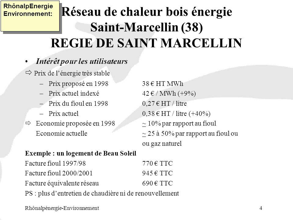 Réseau de chaleur bois énergie Saint-Marcellin (38) REGIE DE SAINT MARCELLIN Rhônalpénergie-Environnement 4 RhônalpEnergie Environnement: Intérêt pour