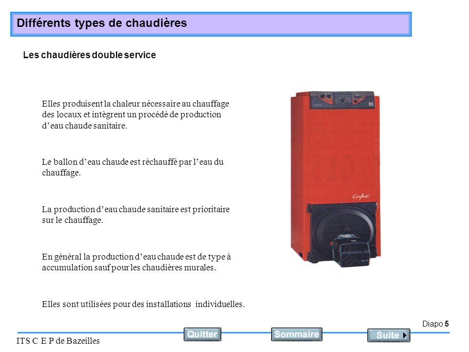 Diapo 5 ITS C E P de Bazeilles Différents types de chaudières Les chaudières double service Elles produisent la chaleur nécessaire au chauffage des lo