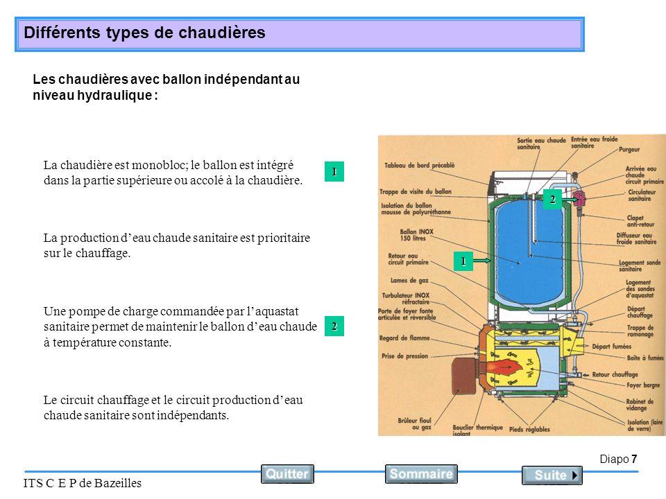 Diapo 8 ITS C E P de Bazeilles Différents types de chaudières Les chaudières équipées de brûleur à air soufflé : Elles sont équipées dun brûleur 1 ou 2 allures en fonction de leur puissance.