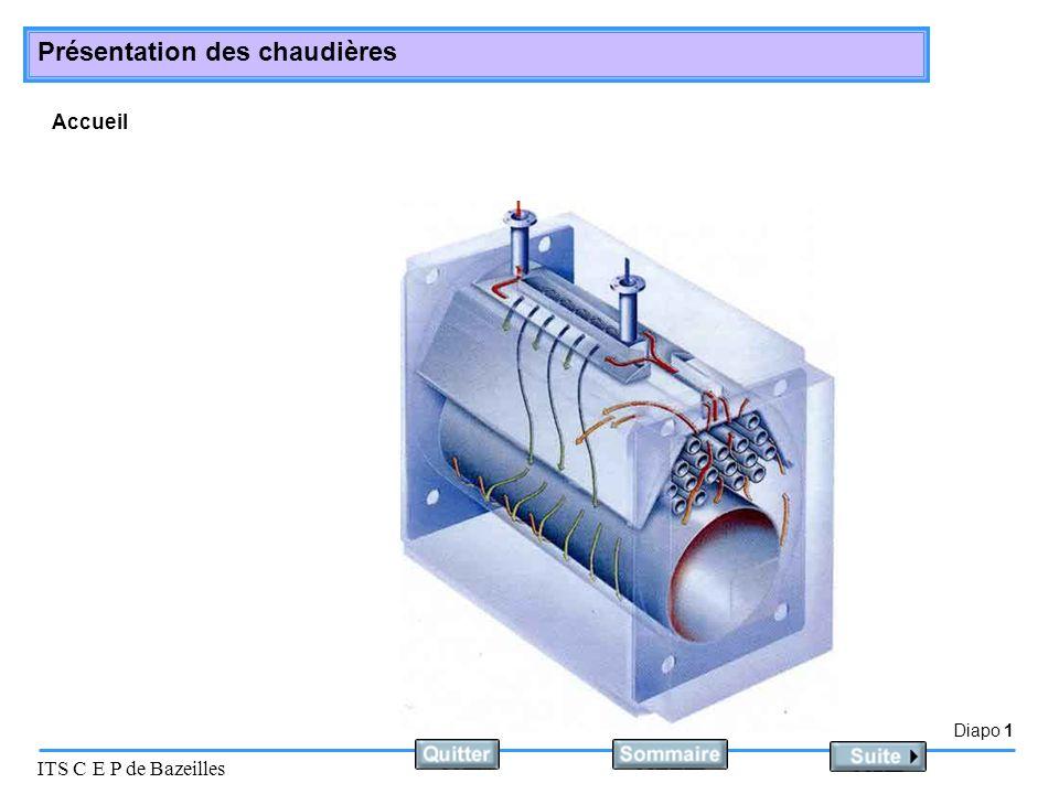 Diapo 2 ITS C E P de Bazeilles Présentation des chaudières Rôle Elles transmettent lénergie calorifique émise par le brûleur, au fluide calorifique.