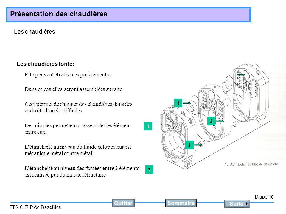 Diapo 10 ITS C E P de Bazeilles Présentation des chaudières Les chaudières Elle peuvent être livrées par éléments. Les chaudières fonte: Dans ce cas e