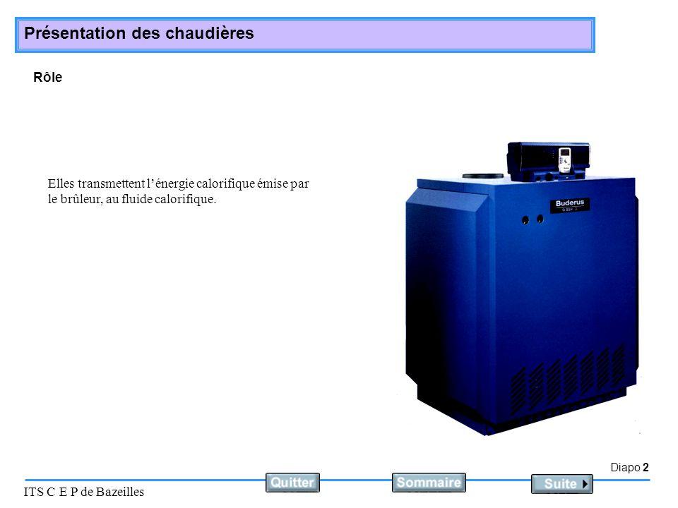 Diapo 3 ITS C E P de Bazeilles Présentation des chaudières Constitution On distingue 3 parties principales dans une chaudière Le foyer Les carneaux Le circuit du fluide caloporteur 1 1 2 2 3 3