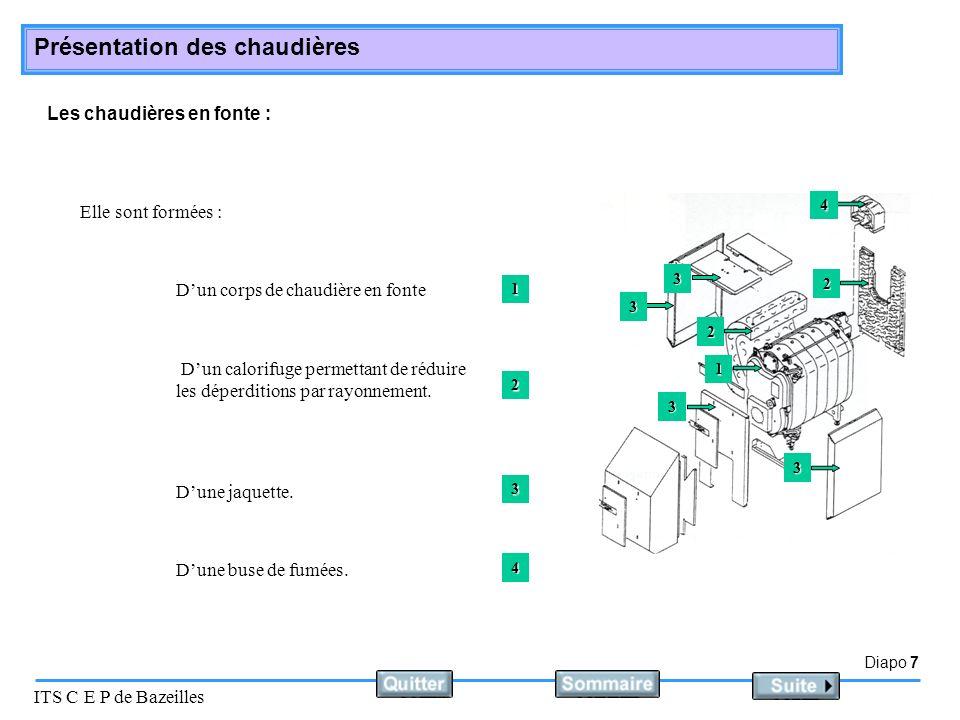 Diapo 7 ITS C E P de Bazeilles Présentation des chaudières Les chaudières en fonte : Elle sont formées : Dun corps de chaudière en fonte Dun calorifug