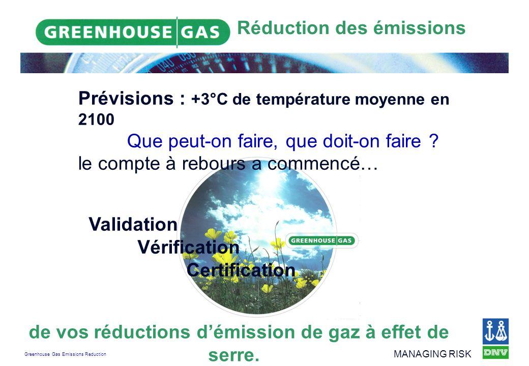 Greenhouse Gas Emissions Reduction MANAGING RISK Prise en compte de la déclaration établie Les émissions peuvent être déclarées que si des données et des informations fiables et crédibles permettent de déterminer les émissions avec un degré élevé de certitude Directive européenne (critères de vérification selon lannexe 5)