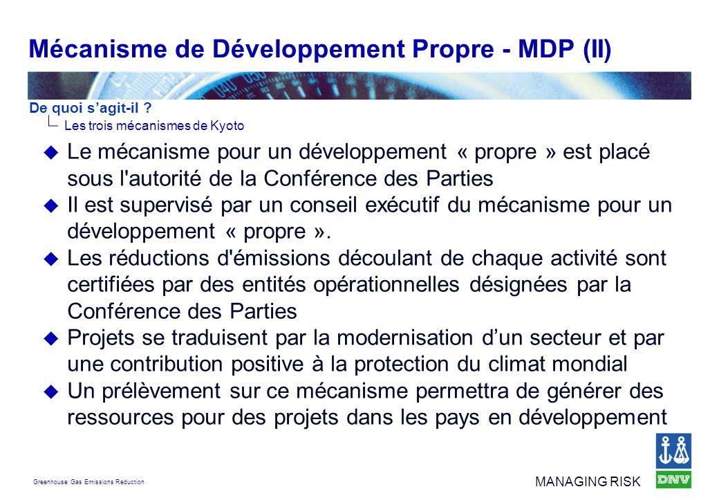 Greenhouse Gas Emissions Reduction MANAGING RISK Le mécanisme pour un développement « propre » est placé sous l'autorité de la Conférence des Parties