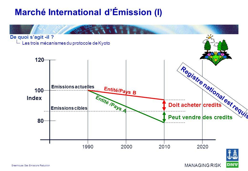 Greenhouse Gas Emissions Reduction MANAGING RISK 1990 200020102020 80 100 120 Index Marché International dÉmission (I) Emissions cibles Peut vendre de
