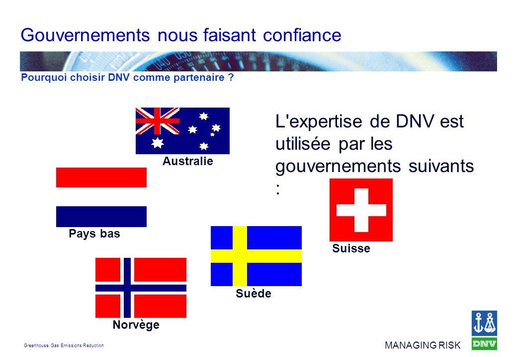 Greenhouse Gas Emissions Reduction MANAGING RISK L'expertise de DNV est utilisée par les gouvernements suivants : Gouvernements nous faisant confiance
