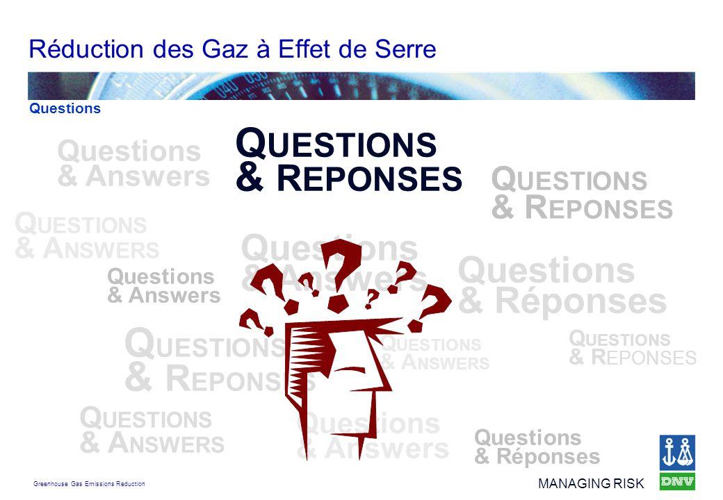 Greenhouse Gas Emissions Reduction MANAGING RISK Réduction des Gaz à Effet de Serre Questions & Answers Q UESTIONS & R EPONSES Questions & Answers Q U