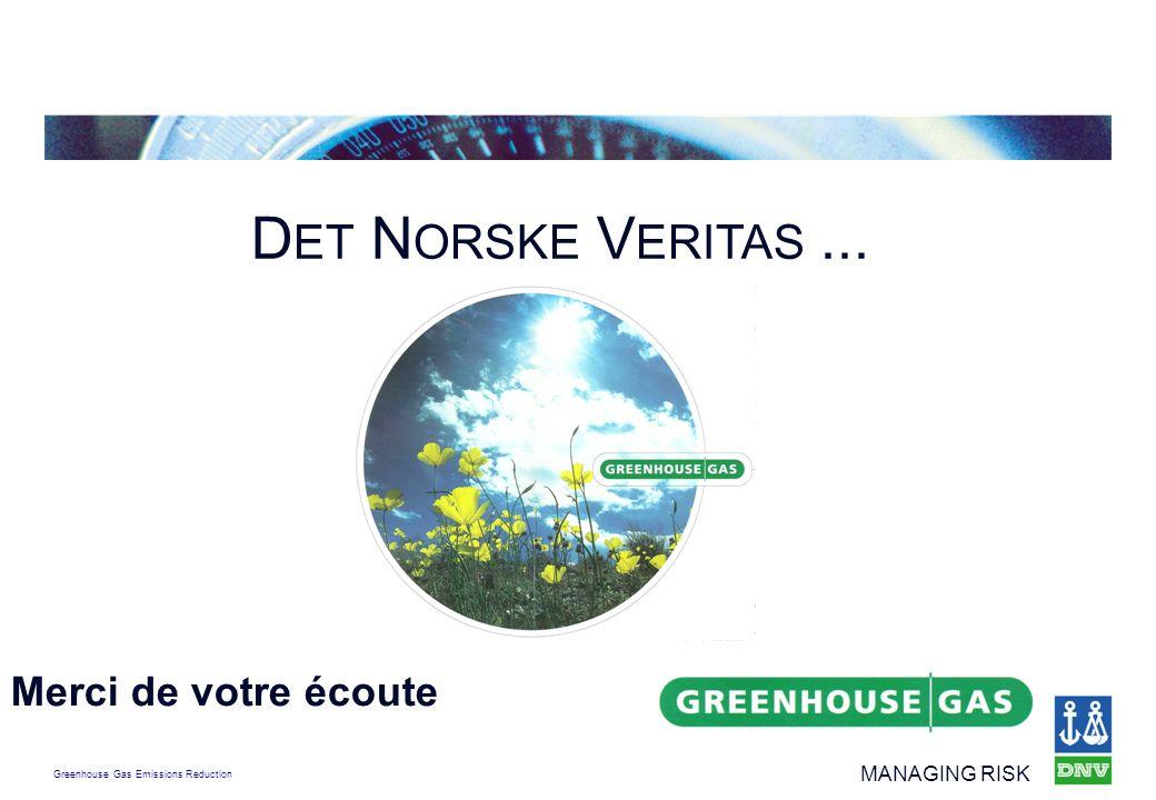 Greenhouse Gas Emissions Reduction MANAGING RISK D ET N ORSKE V ERITAS... Merci de votre écoute