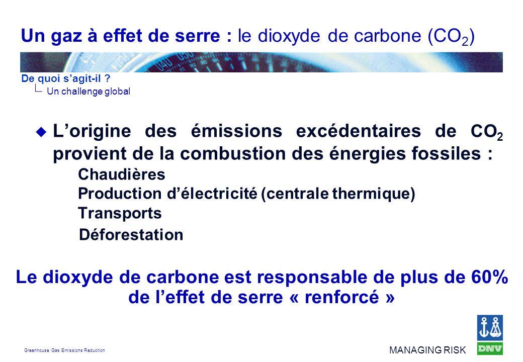 Greenhouse Gas Emissions Reduction MANAGING RISK Lorigine des émissions excédentaires de CO 2 provient de la combustion des énergies fossiles : Chaudi