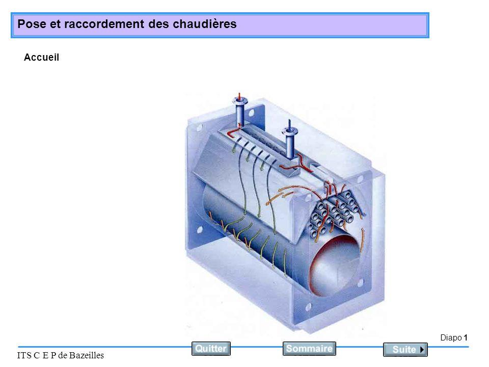 Diapo 2 ITS C E P de Bazeilles Pose et raccordement des chaudières Choix des chaudières : En fonction de la configuration géographique du lieu ou elle va être installée.