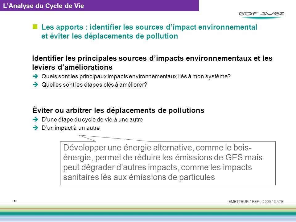 Les apports : identifier les sources dimpact environnemental et éviter les déplacements de pollution Identifier les principales sources dimpacts envir