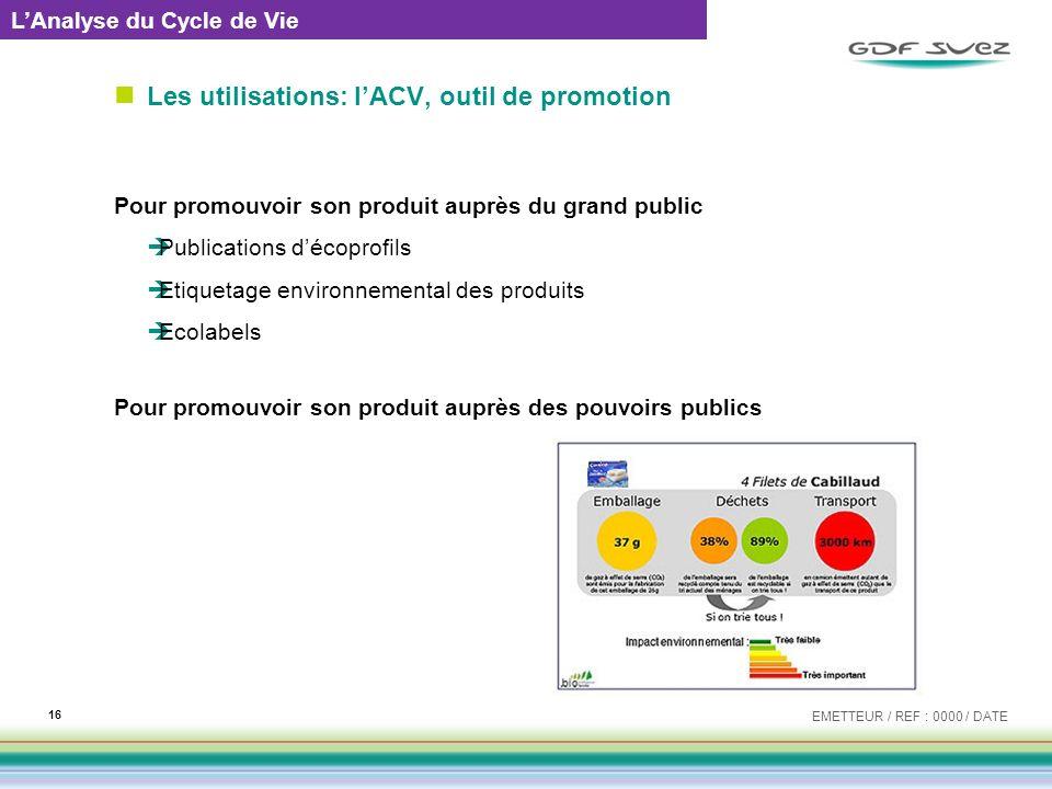 Les utilisations: lACV, outil de promotion Pour promouvoir son produit auprès du grand public Publications décoprofils Etiquetage environnemental des