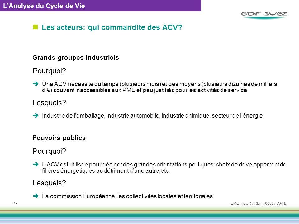 Les acteurs: qui commandite des ACV? Grands groupes industriels Pourquoi? Une ACV nécessite du temps (plusieurs mois) et des moyens (plusieurs dizaine