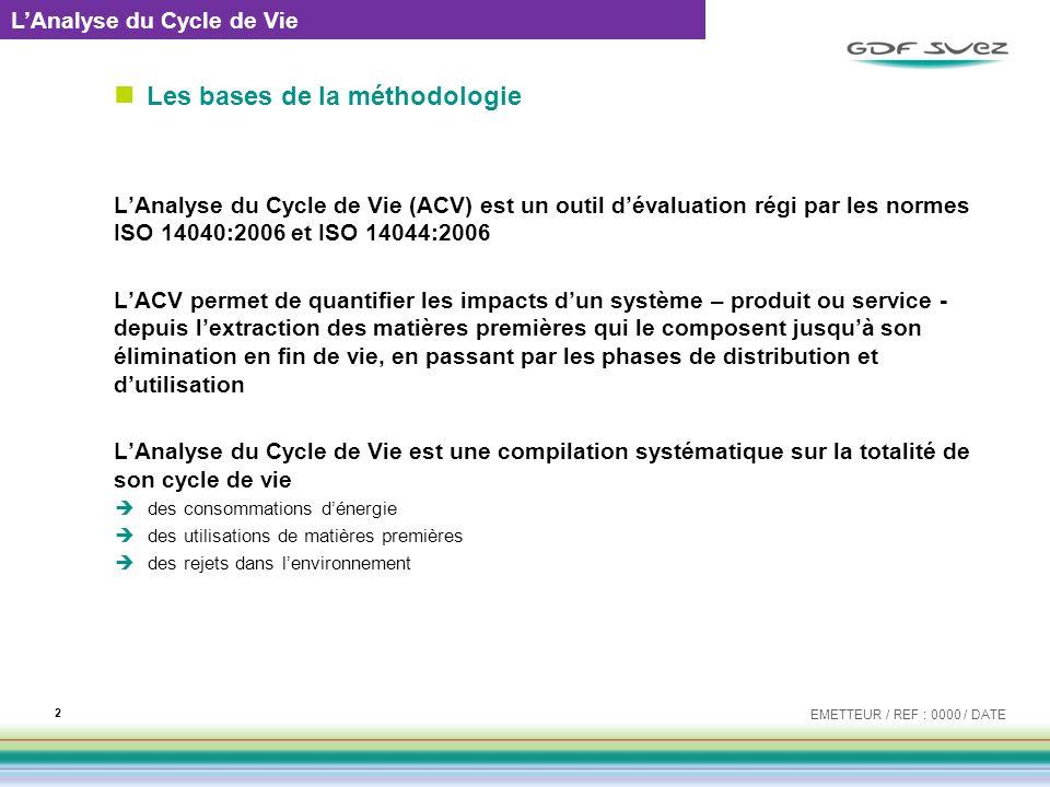 Les bases de la méthodologie LAnalyse du Cycle de Vie (ACV) est un outil dévaluation régi par les normes ISO 14040:2006 et ISO 14044:2006 LACV permet