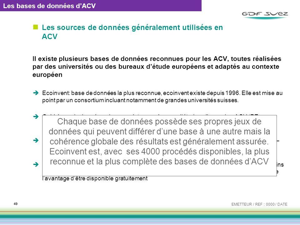 Les sources de données généralement utilisées en ACV Il existe plusieurs bases de données reconnues pour les ACV, toutes réalisées par des universités