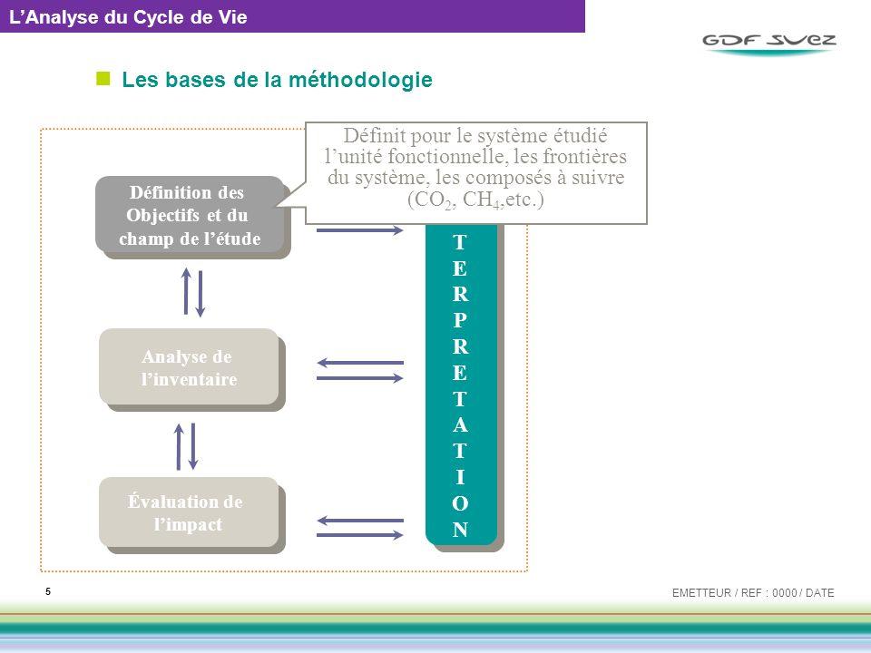 Les bases de la méthodologie EMETTEUR / REF : 0000 / DATE 6 LAnalyse du Cycle de Vie Analyse de linventaire Analyse de linventaire Évaluation de limpact Évaluation de limpact INTERPRETATIONINTERPRETATION INTERPRETATIONINTERPRETATION Définition des Objectifs et du champ de létude Définition des Objectifs et du champ de létude ACV Réalise linventaire, pour chaque sous-système étudié, des entrants et sortants en masse de composé suivi (CO 2, CH 4,etc.)