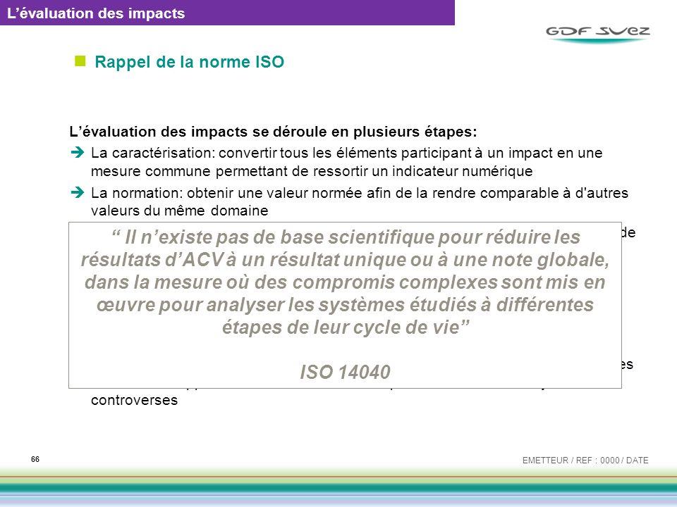 Rappel de la norme ISO Lévaluation des impacts se déroule en plusieurs étapes: La caractérisation: convertir tous les éléments participant à un impact