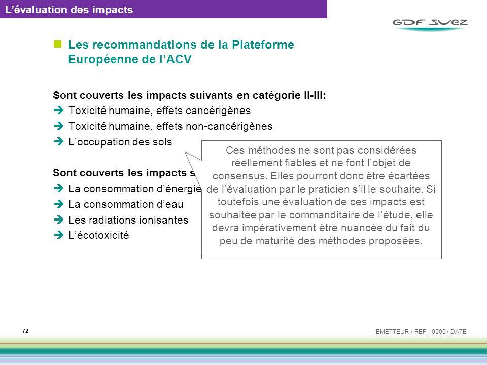 Les recommandations de la Plateforme Européenne de lACV Sont couverts les impacts suivants en catégorie II-III: Toxicité humaine, effets cancérigènes