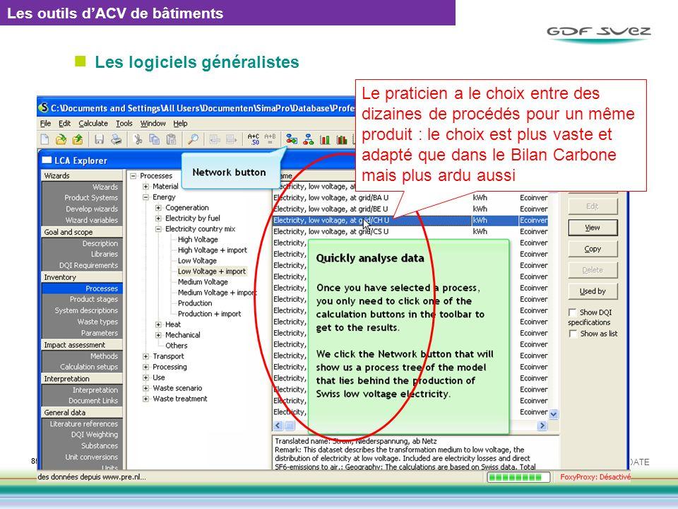 Les logiciels généralistes EMETTEUR / REF : 0000 / DATE 85 Il existe de nombreux logiciels dACV Simapro, Gabi, Umberto, Range LCA, etc. Tous ces logic