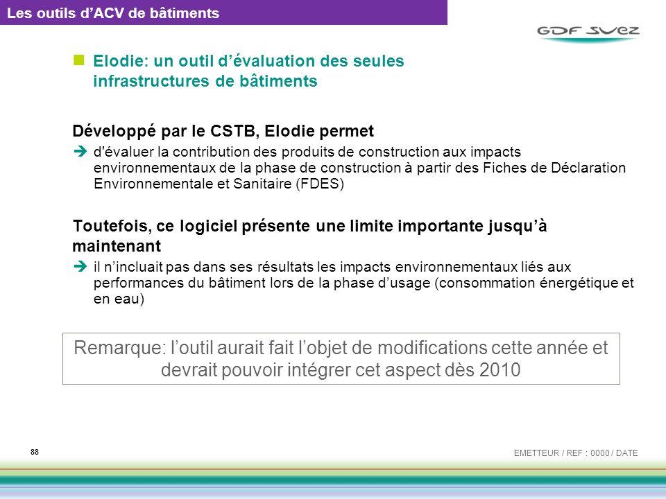 Elodie: un outil dévaluation des seules infrastructures de bâtiments Développé par le CSTB, Elodie permet d'évaluer la contribution des produits de co