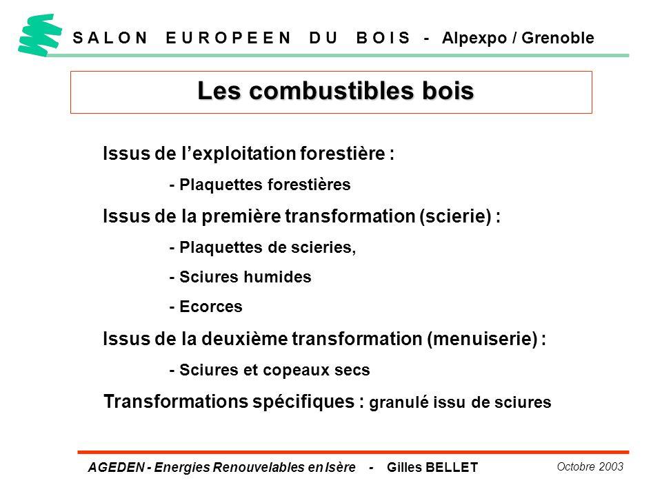 AGEDEN - Energies Renouvelables en Isère - Gilles BELLET Octobre 2003 Les combustibles bois S A L O N E U R O P E E N D U B O I S - Alpexpo / Grenoble