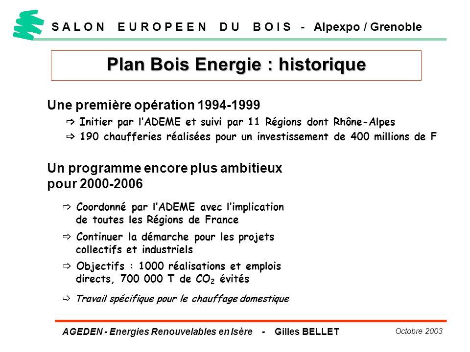 AGEDEN - Energies Renouvelables en Isère - Gilles BELLET Octobre 2003 Plan Bois Energie : historique S A L O N E U R O P E E N D U B O I S - Alpexpo /
