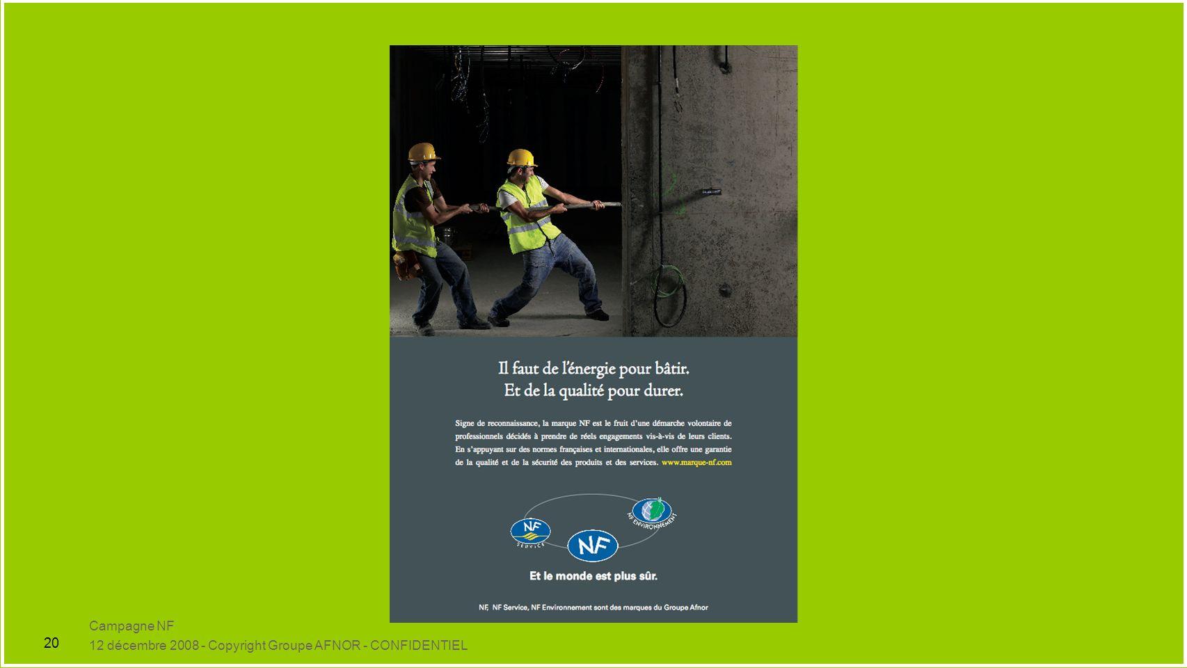 Campagne NF 12 décembre 2008 - Copyright Groupe AFNOR - CONFIDENTIEL 20
