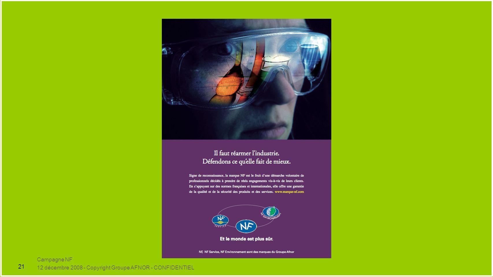 Campagne NF 12 décembre 2008 - Copyright Groupe AFNOR - CONFIDENTIEL 21