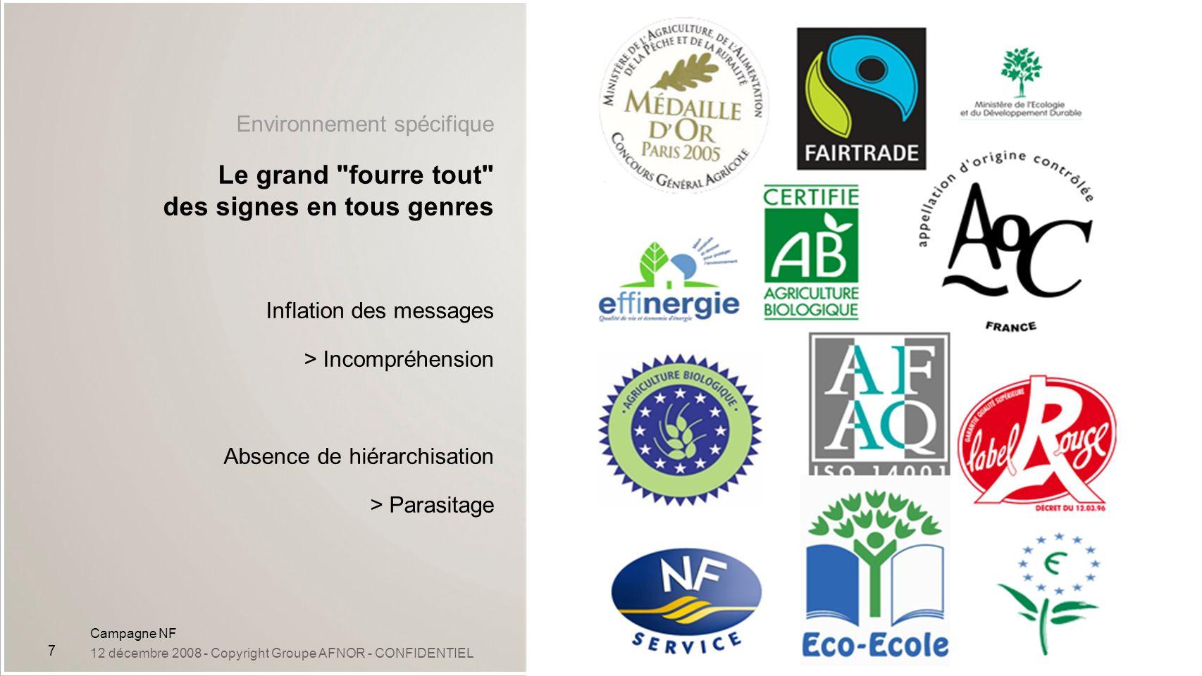 Campagne NF 12 décembre 2008 - Copyright Groupe AFNOR - CONFIDENTIEL 7 Environnement spécifique Le grand