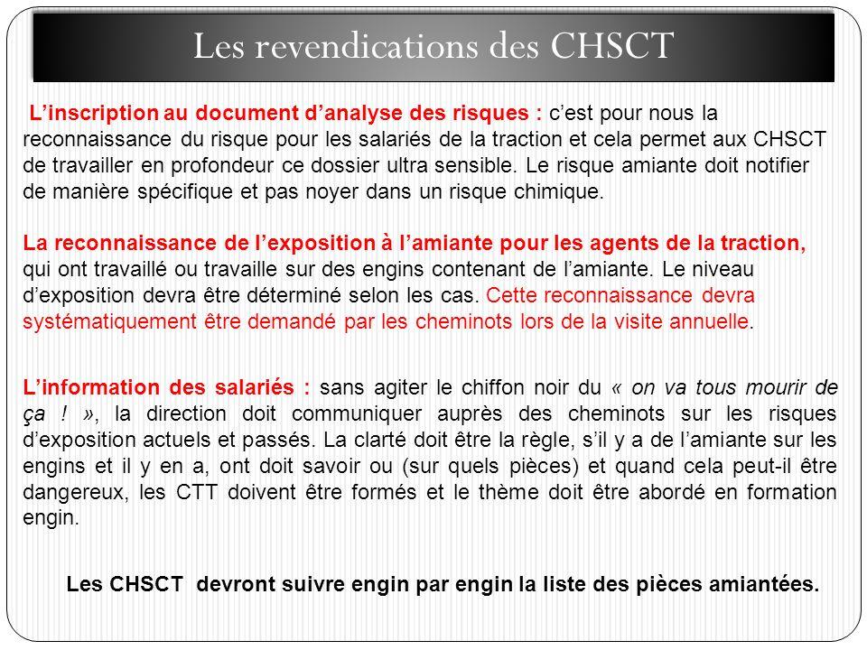 Les revendications des CHSCT Linscription au document danalyse des risques : cest pour nous la reconnaissance du risque pour les salariés de la traction et cela permet aux CHSCT de travailler en profondeur ce dossier ultra sensible.