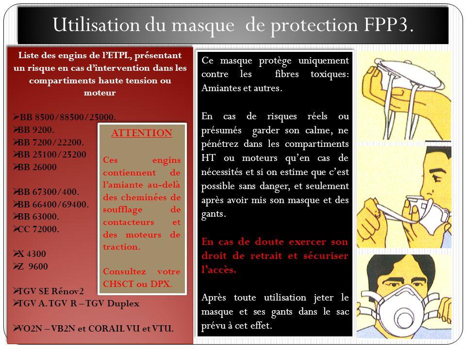 Utilisation du masque de protection FPP3. Liste des engins de lETPL, présentant un risque en cas dintervention dans les compartiments haute tension ou