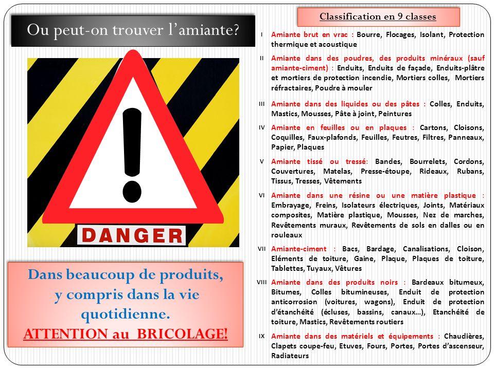 Classification en 9 classes I Amiante brut en vrac : Bourre, Flocages, Isolant, Protection thermique et acoustique II Amiante dans des poudres, des pr