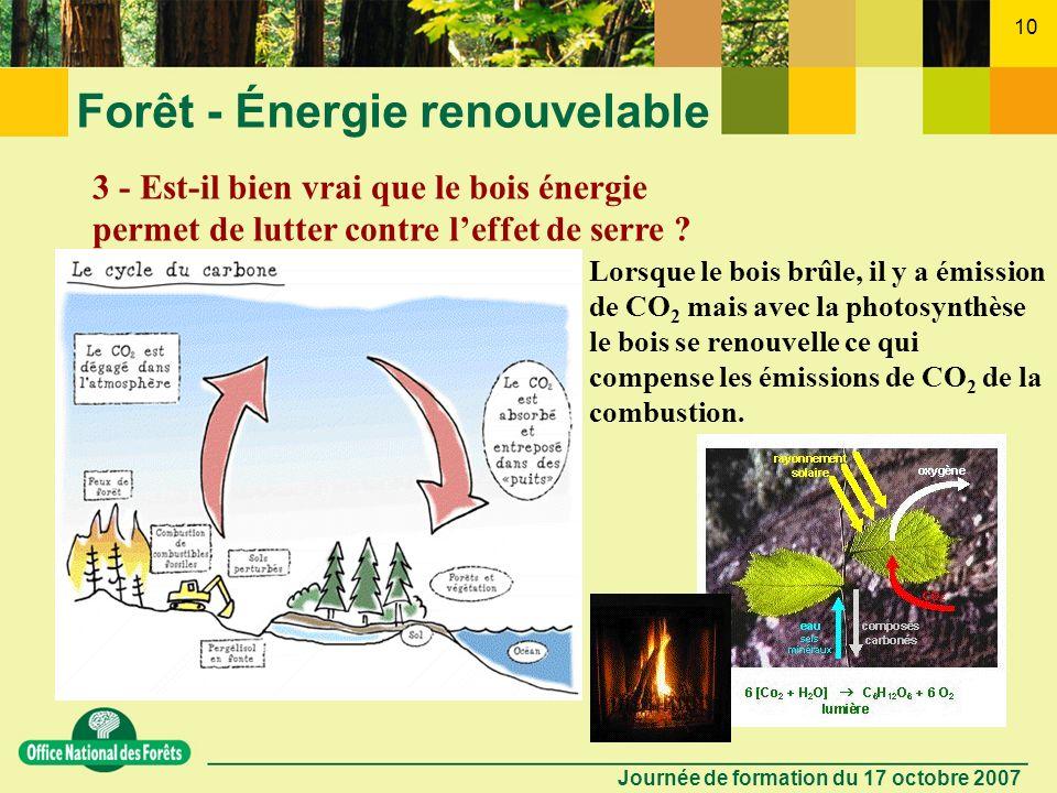Journée de formation du 17 octobre 2007 9 Forêt - Énergie renouvelable 2 - Doù vient lénergie du bois ? Larbre est comme une pile ! - Il se « charge »