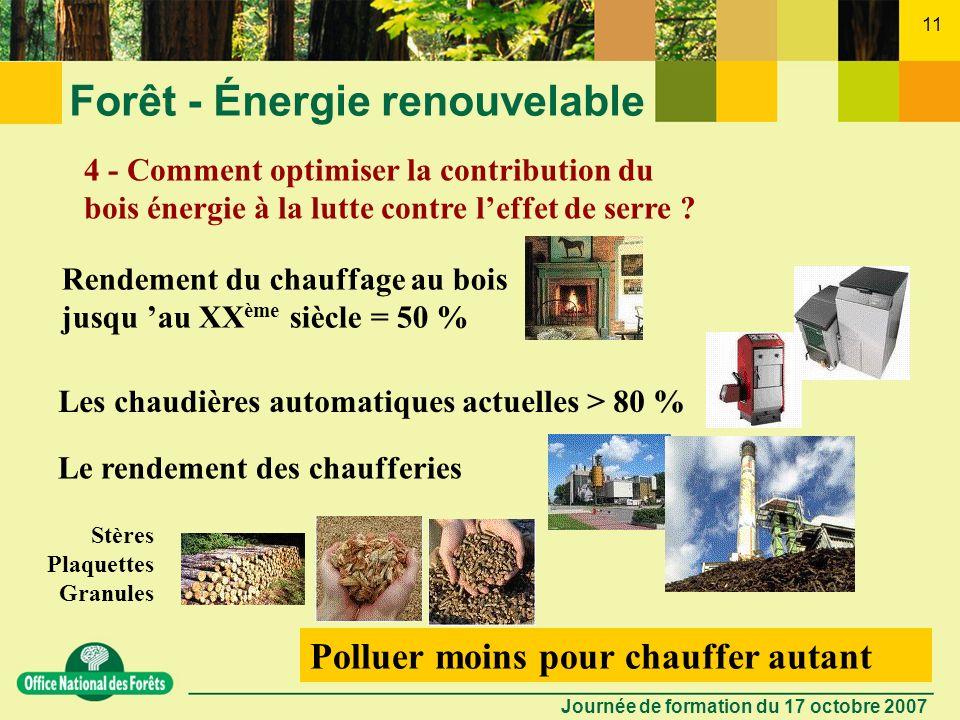Journée de formation du 17 octobre 2007 10 Forêt - Énergie renouvelable 3 - Est-il bien vrai que le bois énergie permet de lutter contre leffet de ser