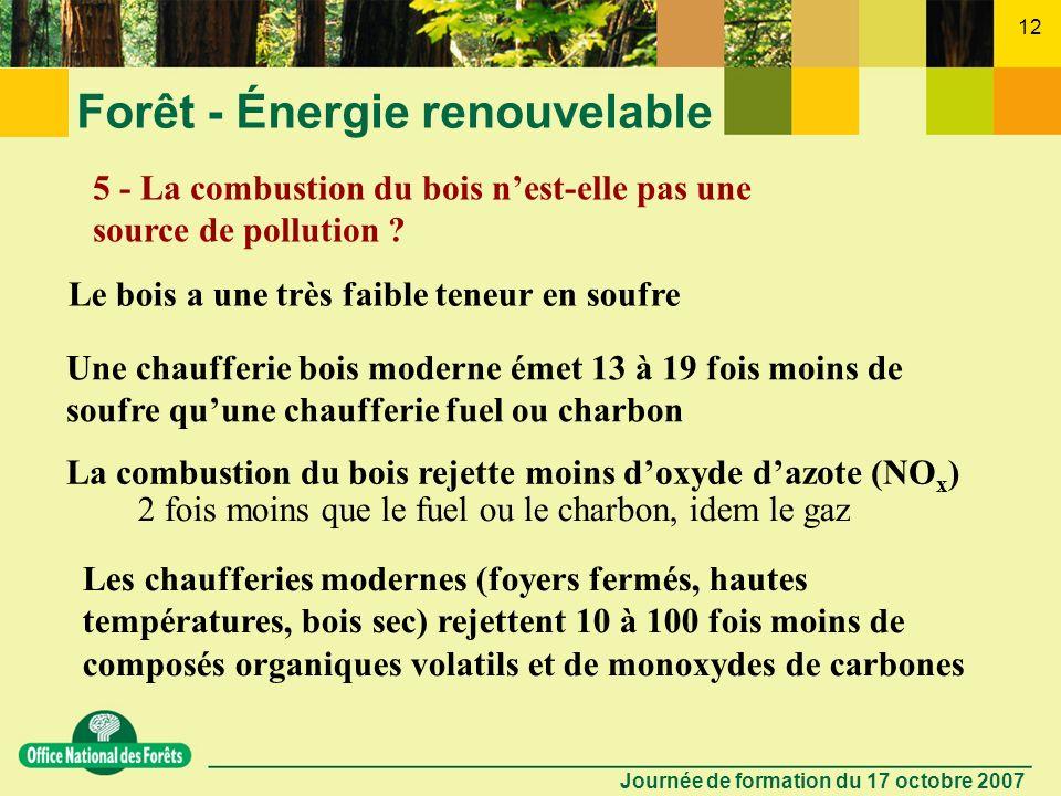 Journée de formation du 17 octobre 2007 11 Forêt - Énergie renouvelable 4 - Comment optimiser la contribution du bois énergie à la lutte contre leffet