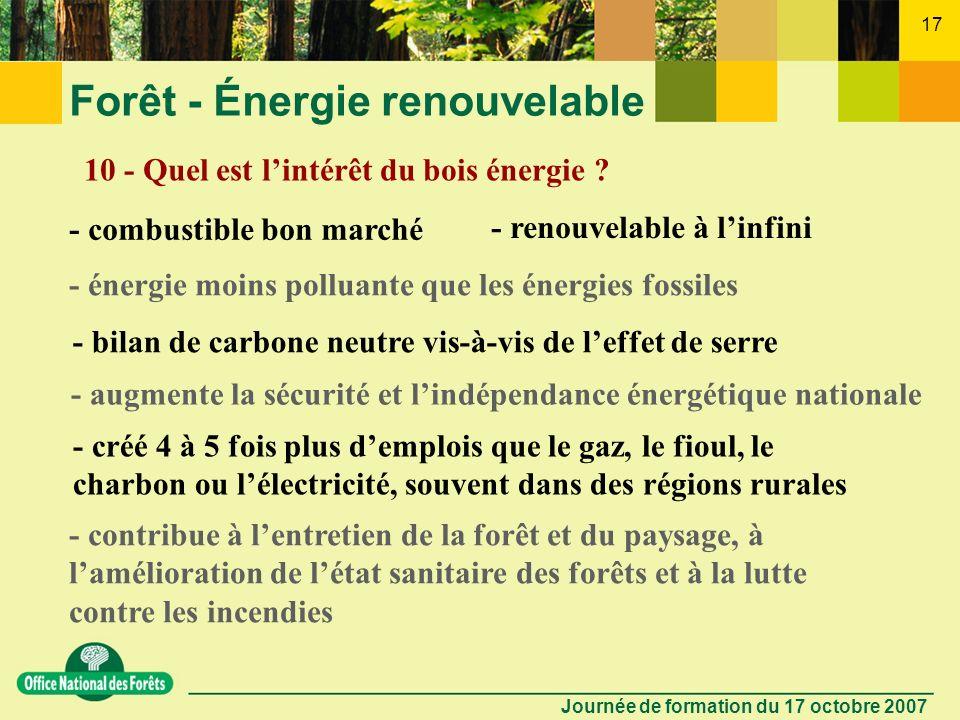 Journée de formation du 17 octobre 2007 16 Forêt - Énergie renouvelable 9 - Que sont les taillis à courte rotation ? Cultures sur terres agricoles pou