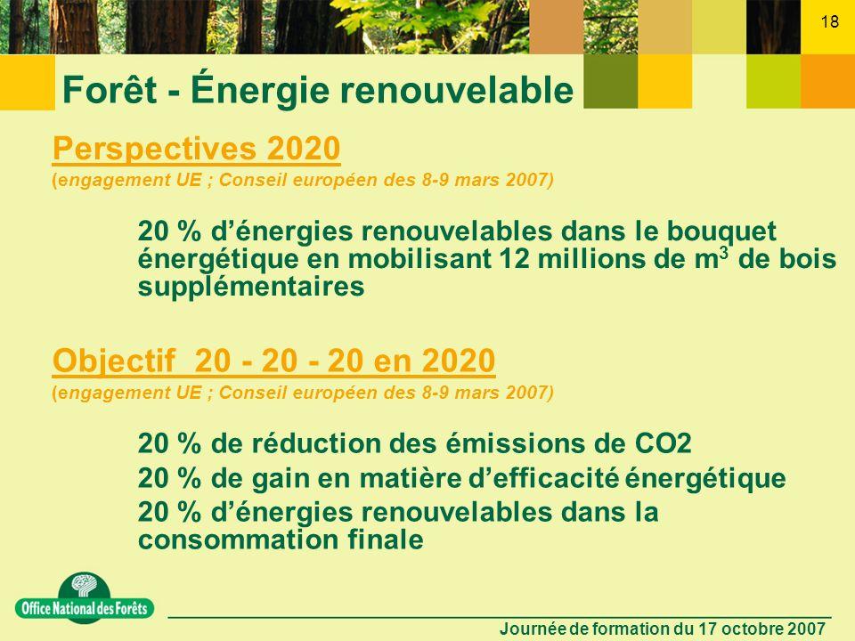 Journée de formation du 17 octobre 2007 17 Forêt - Énergie renouvelable 10 - Quel est lintérêt du bois énergie ? - combustible bon marché - renouvelab