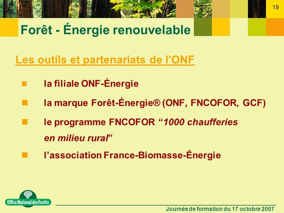 Journée de formation du 17 octobre 2007 18 Forêt - Énergie renouvelable Perspectives 2020 (engagement UE ; Conseil européen des 8-9 mars 2007) 20 % dé